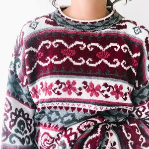 Vintage Oversized Funky Patterned Sweater